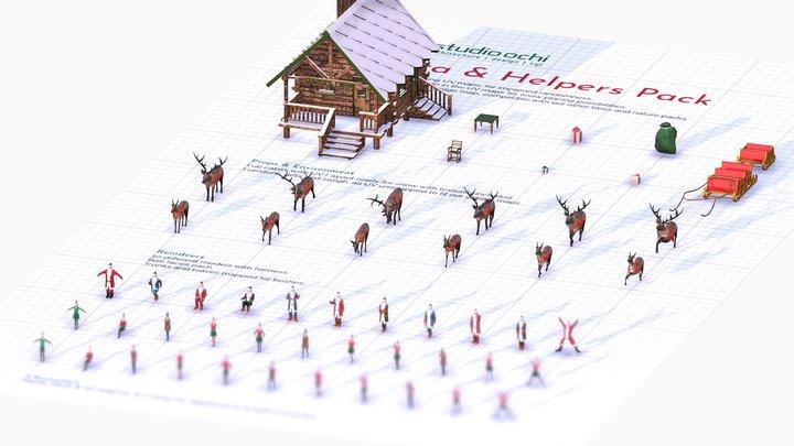 Santa & Helpers 3D Model