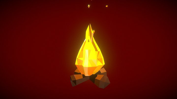 Low Poly Campfire 3D Model