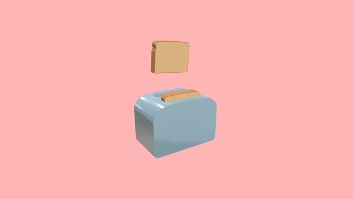 Low poly toaster (animated) 3D Model
