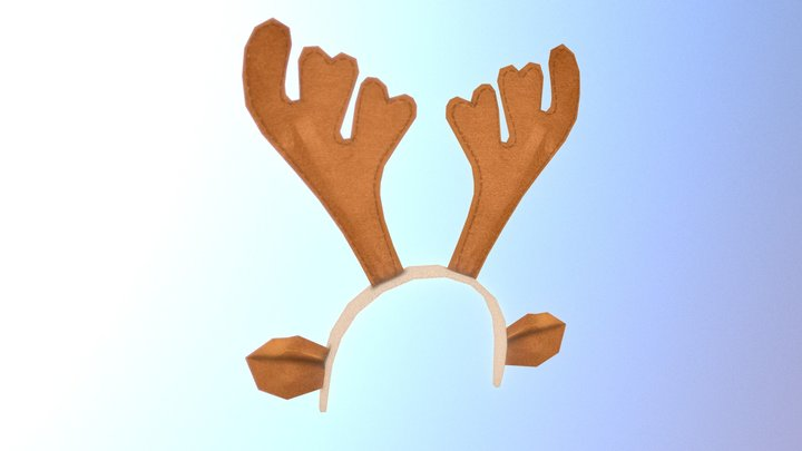 Low poly Christmas deer horns accessory 3D Model