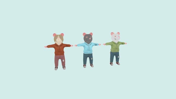 Rat 3 Color variatons 3D Model