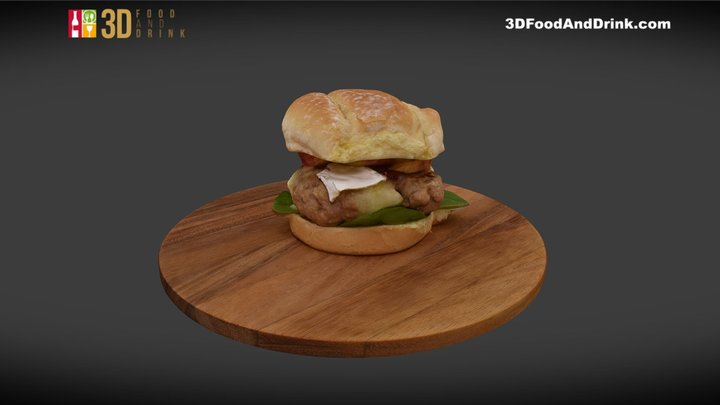 Apple Cranberry Brie Turkey Burger 3D Model