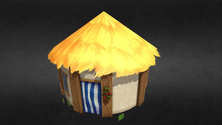 Low poly stylized tribal tropical hut 3D Model