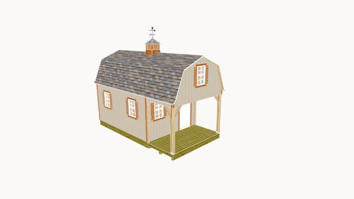 12x22 Small Cabin Plans with Loft 3D Model