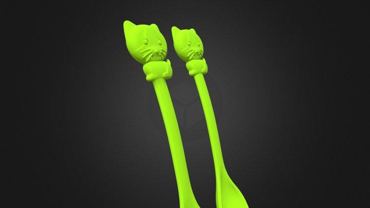 CF-K38 淘氣貓 Cat_Spoon+ Fork 3D Model