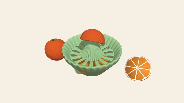 Manually juicer and oranges 3D Model