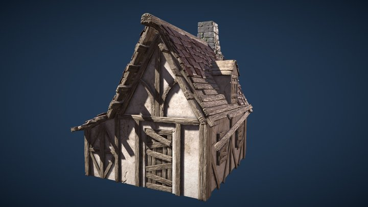 Medieval House Built with Modular Pieces 3D Model