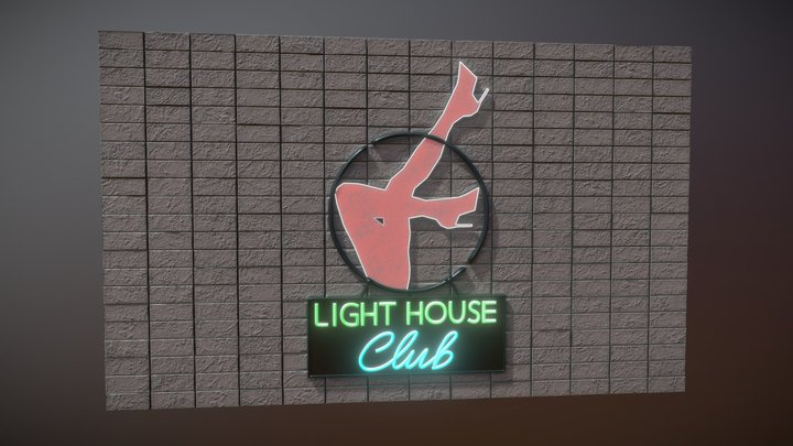Night club sign with wall 3D Model