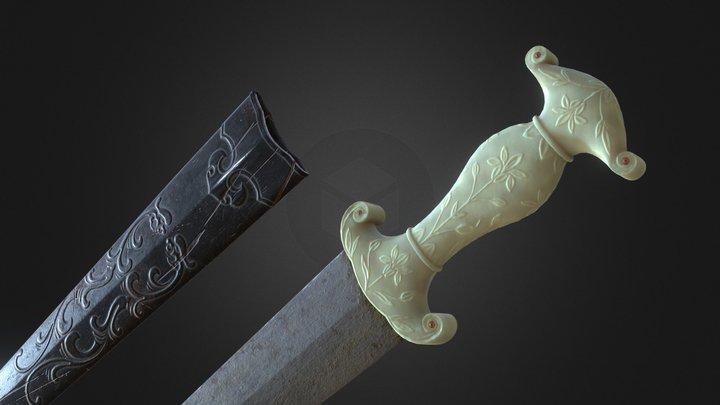 Mughal Jade-handled Khanjar dagger 3D Model