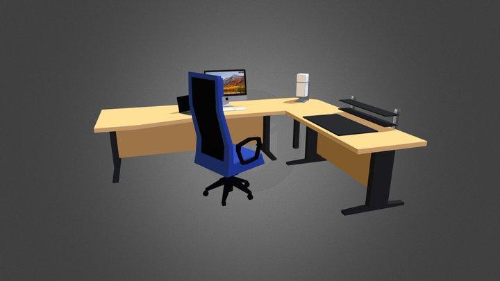 LowPoly Office Desk 3D Model
