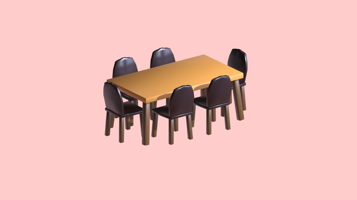 Low Poly - Chair and Table 3D Model