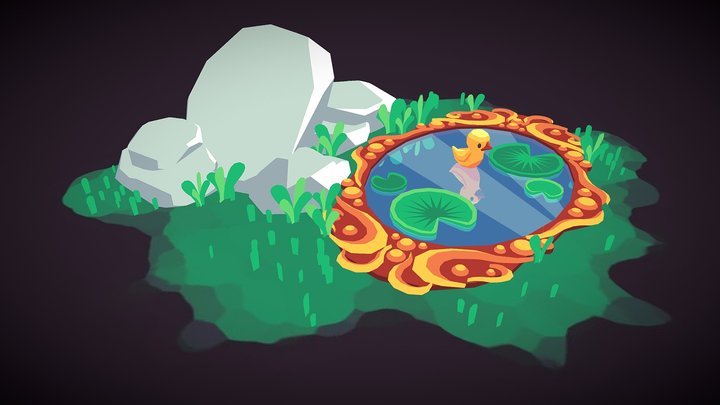 Mirror-pond and little Duck 3D Model
