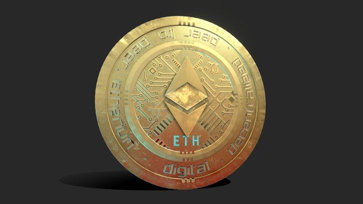 Ethereum Cryptocurrency Coin Gold 3D Model