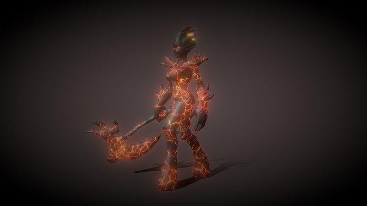 Female Fire Elemental 3D Model