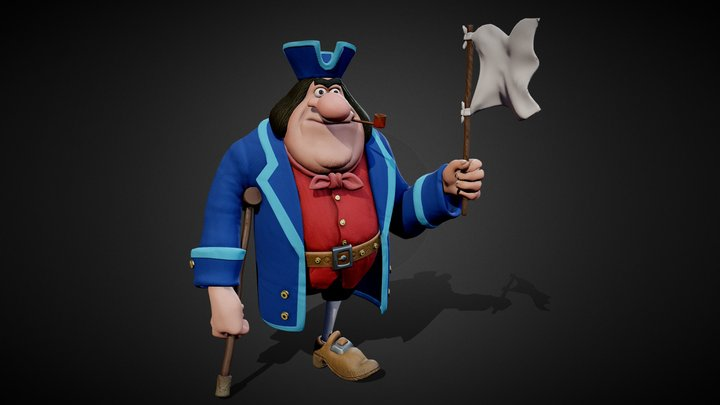 Pirate Captain John Silver 3D Model
