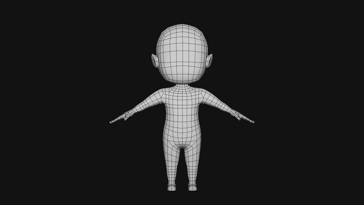 CHARACTER - BOY BASE MESH RIGGED LOW POLY 3D Model