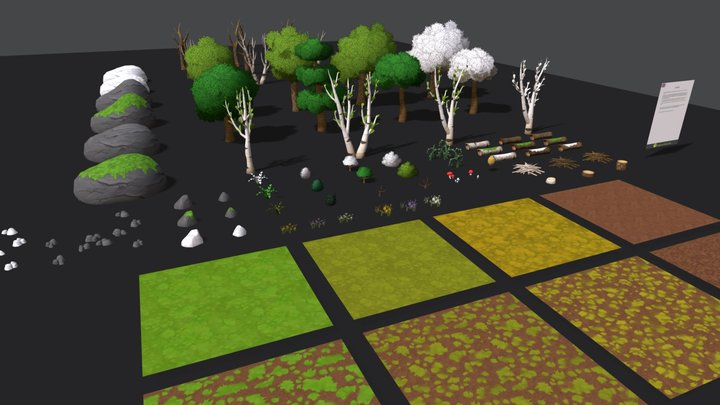 Handpainted Forest Pack 3D Model