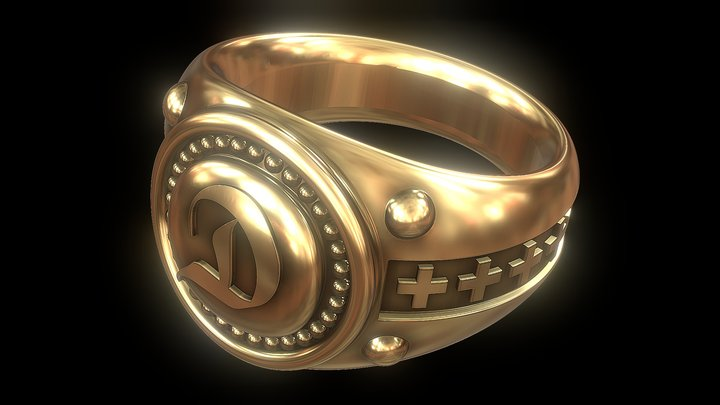 "Antique Ring ""D"" (Customizable) 3D Model"