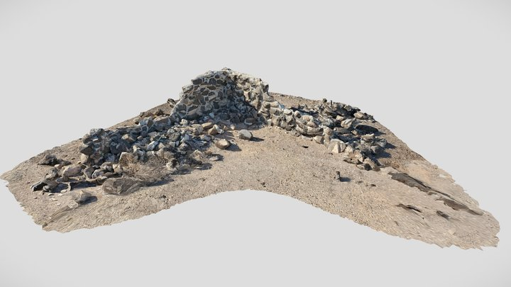 Old Rock Wall In The California Desert 3D Model