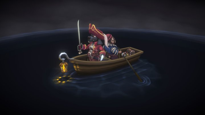 Pirate scene - Hook and Smee 3D Model