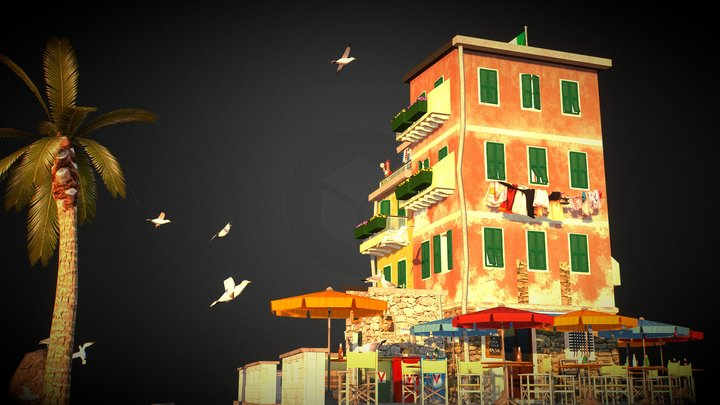 City Scene Vernazza 3D Model