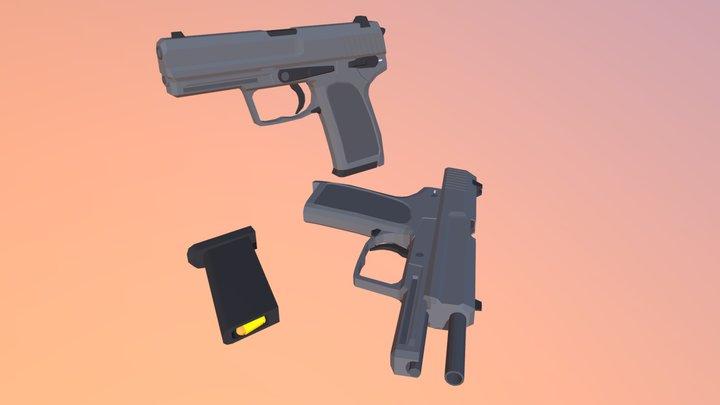 Low Poly HK USP 3D Model