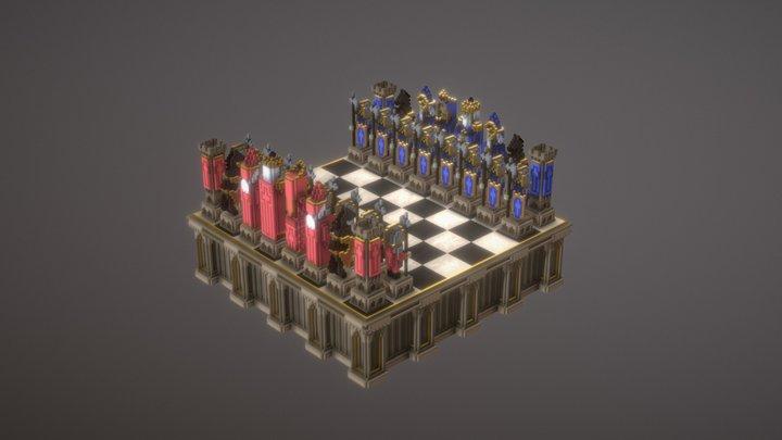 Chess set - Voxel model 3D Model