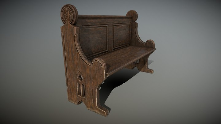 Church bench 2 3D Model