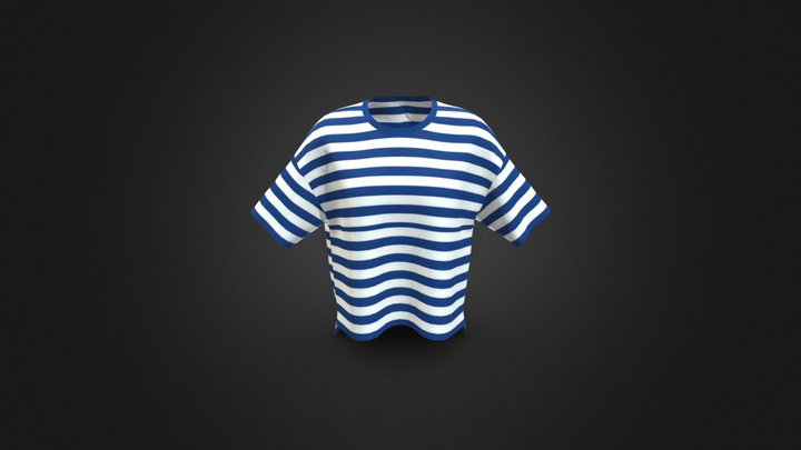 Blue color Front T-shirt 3D Model