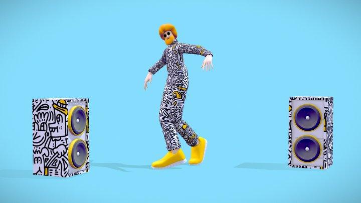 Cartoon Mr Doodle Dance Hip-Hop Character 3D Model