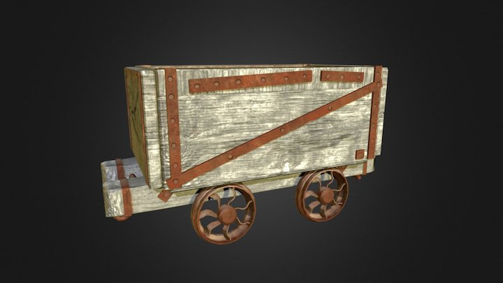 Rusted Mine Cart 3D Model