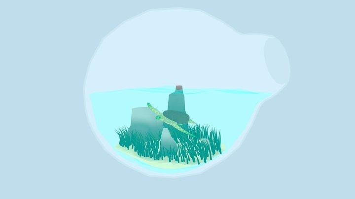 Mini Green Sea Turtle Terrarium 3D Model