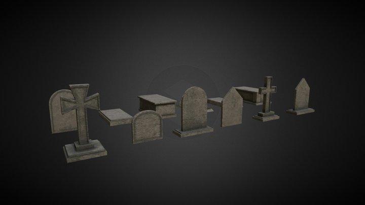 Gravestone Pack 3D Model