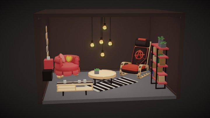 A modern living room 3D Model
