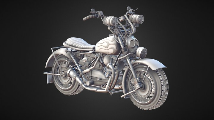 Apocalyptic Motorcycle 3D Model