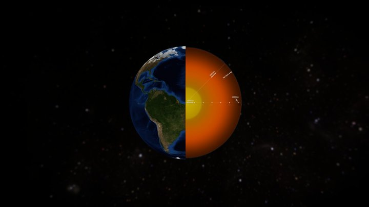 Earth and atmosphere height (actual dimensions) 3D Model