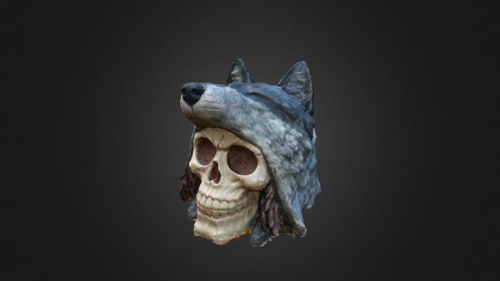 Wolf Skin Skull 3D Model