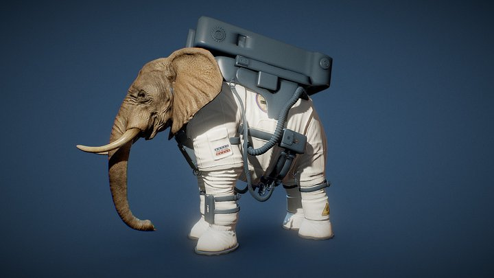Elephant Astronaut 3D Model