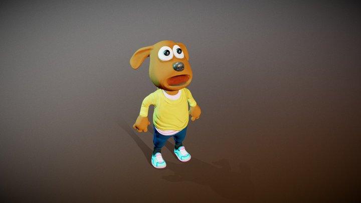 Cartoon Dog in Tracksuit 3D Model