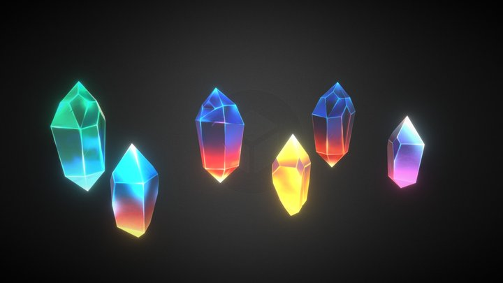 Low poly crystal set 3D Model