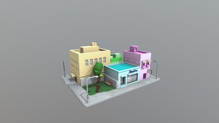 low poly square 3D Model