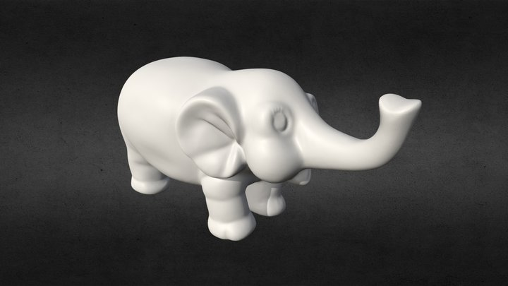 3D Scanned Elephant Figurine (3D Printable) 3D Model