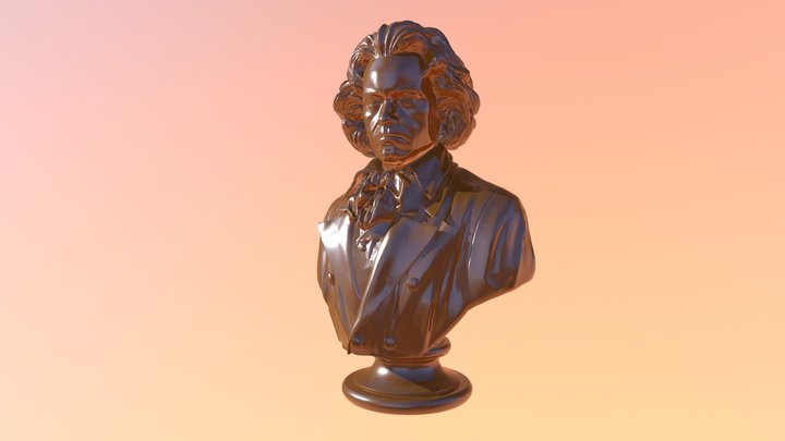 Beethoven Bust Chocolate 3D Model
