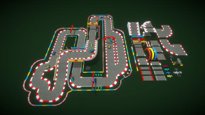 Modular Lowpoly Circuit Asset GoKart Racing 3D Model