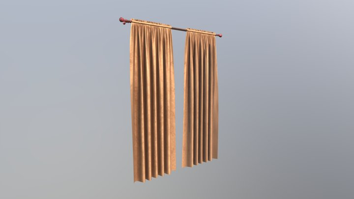 №605 Curtain  3D low poly model for VR-projects 3D Model