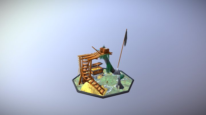 Low Poly Pirate Treasure 3D Model