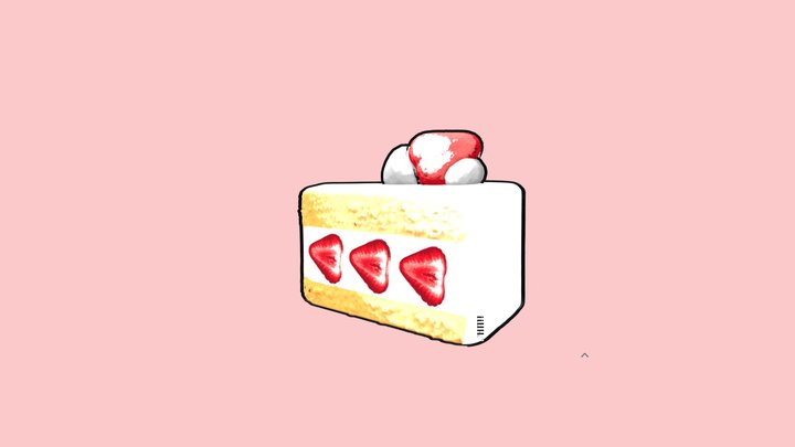 Japanese Strawberry Cake 3D Model