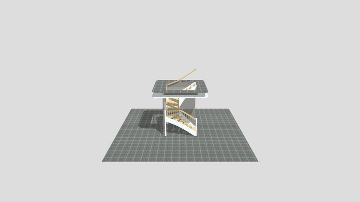 Paras bygg U-trappa utan mitt räcke 3D Model