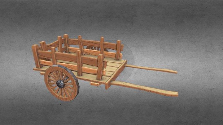 Stylized Wooden Cart 3D Model