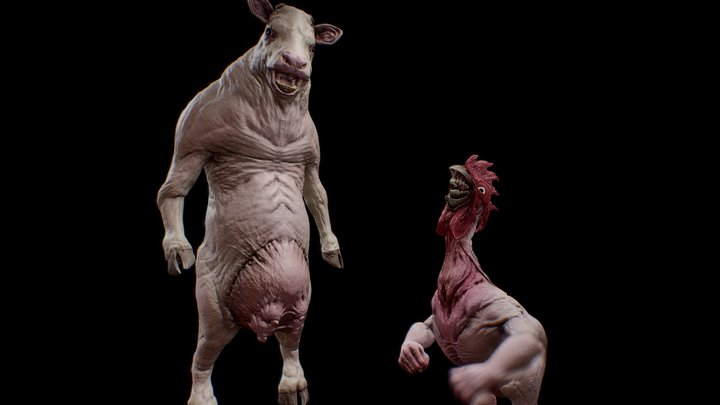 Cow and Chicken Fanart 3D Model